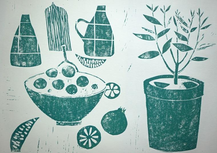 Green Plant Linocut