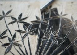 Holzschnitt Blumen