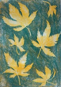 Ahornblätter - Linolschnitt