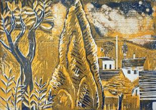 Landschaft mit Zypresse - Holzschnitt