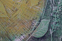 Linoldruck mehrfärbig Baumstamm