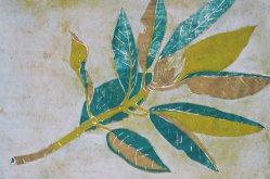 Linolschnitt verlorener Schnitt Rhododendronzweig