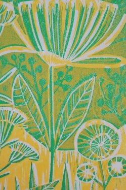 Linolschnitt zweifärbig Blumen