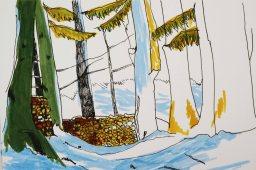 Tuschezeichnung Wald im Winter
