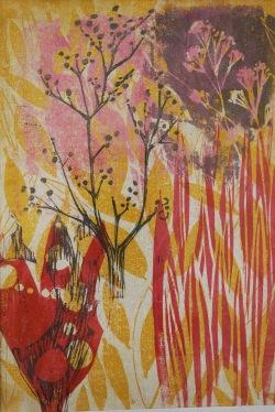 abstrakte landschaft - linolschnitt