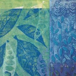 blätter in grün und blau - linolschnitt